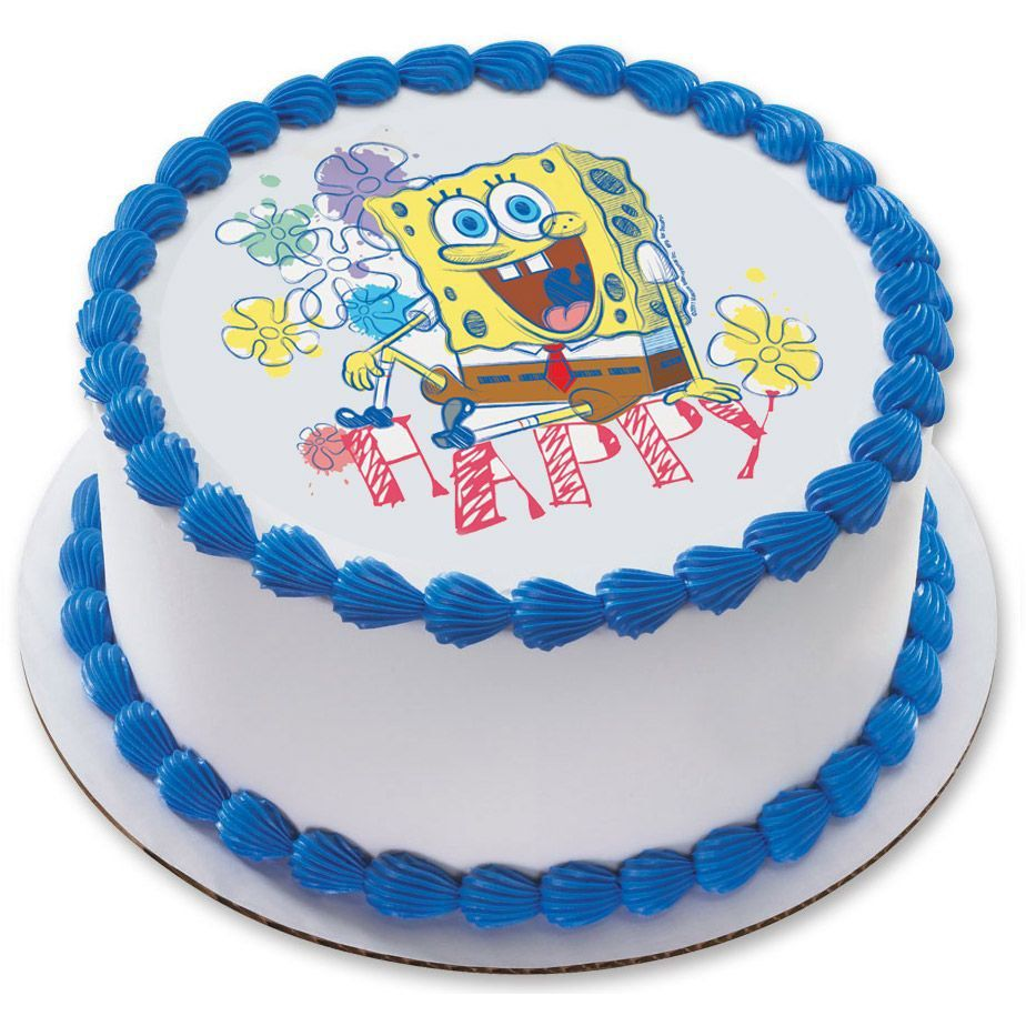 Edible Cake Images Ingredients : SpongeBob 7.5 Round Party Supplies Birthday in a Box