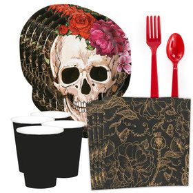 Spooky Floral Day of the Dead Standard Tableware Kit (Serves 8)