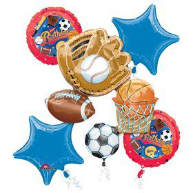 Sports Birthday Balloon Bouquet (8 pack)