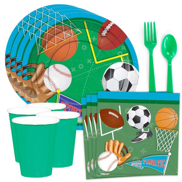 Sports Birthday Party Standard Tableware Kit (Serves 8)
