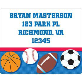 Sports Birthday Personalized Address Labels (Sheet of 15)