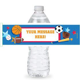 Sports Birthday Personalized Bottle Labels (Sheet of 4)