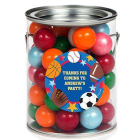 Sports Birthday Personalized Paint Can Favor Container (6 Pack)