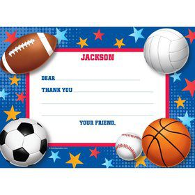 Sports Birthday Personalized Thank You Note (each)