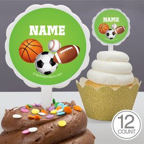Sports Party Personalized Cupcake Picks (12 Count)