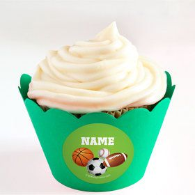 Sports Party Personalized Cupcake Wrappers (Set of 24)