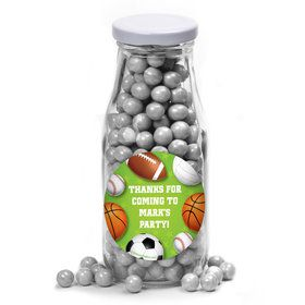 Sports Party Personalized Glass Milk Bottles (12 Count)