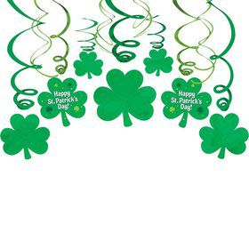 St. Patrick's Day Hanging Foil Swirl Decorations (6 Piece)