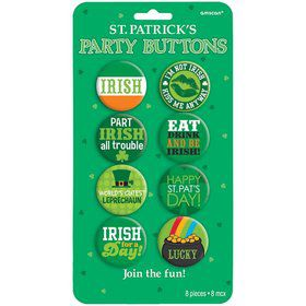 St. Patrick's Day Party Buttons (8 Pack)