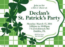 St. Patrick's Day Personalized Invitation (Each)