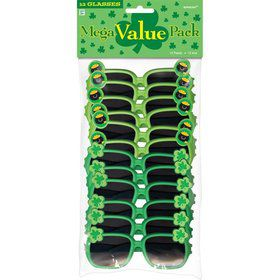 St. Patrick's Day Plastic Glasses (12 Pack)