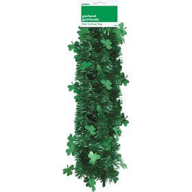 St. Patrick's Day Shamrock 9' Tinsel Garland Decoration (Each)