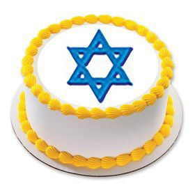 "Star of David 7.5"" Round Edible Cake Topper (Each)"