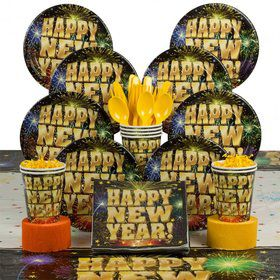Stellar New Years Party Deluxe Tableware Kit Serves 8