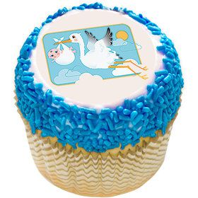 "Stork and Baby 2"" Edible Cupcake Topper (12 Images)"