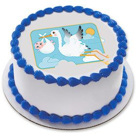 "Stork and Baby 7.5"" Round Edible Cake Topper (Each)"