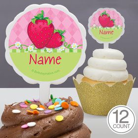 Strawberry Friends Personalized Cupcake Picks (12 Count)