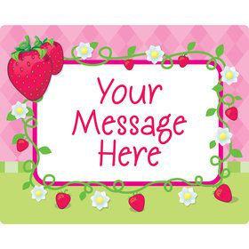 Strawberry Friends Personalized Rectangular Stickers (Sheet of 15)