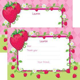 Strawberry Friends Personalized Thank You Note (each)
