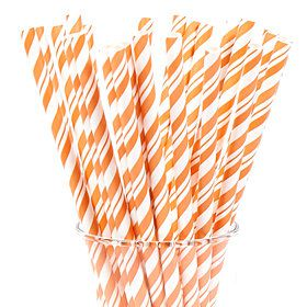 Sunkissed Orange and White Striped Paper Straws