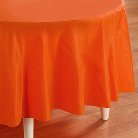 Sunkissed Orange (Orange) Round Plastic Tablecover
