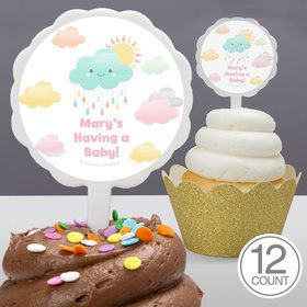 Sunshine Showers Personalized Cupcake Picks (12 Count)