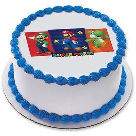 "Super Mario Bros 7.5"" Round Edible Cake Topper (Each)"