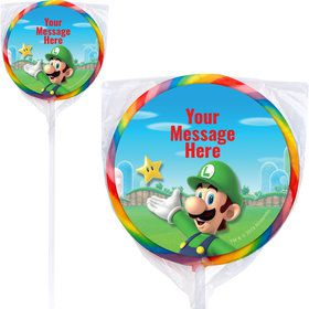 "Super Mario Bros. Luigi Personalized 3"" Lollipops (12 Pack)"