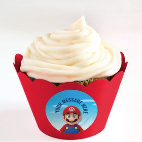 Super Mario Bros. Mario Personalized Cupcake Wrappers (Set of 24)