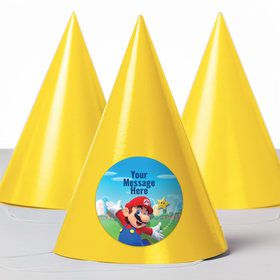 Super Mario Bros. Mario Personalized Party Hats (8 Count)