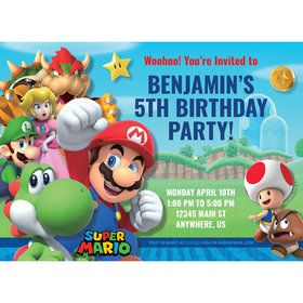 Super Mario Bros. Personalized Invitation (Each)