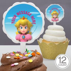 Super Mario Bros. Princess Peach Personalized Cupcake Picks (12 Count)