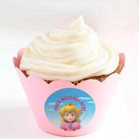 Super Mario Bros. Princess Peach Personalized Cupcake Wrappers (Set of 24)