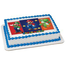 Super Mario Bros Quarter Sheet Edible Cake Topper (Each)
