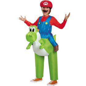 Super Mario Brothers Mario Riding Yoshi Inflatable Kids Costume