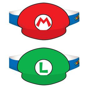 Super Mario Paper Hats - (8 Pack)