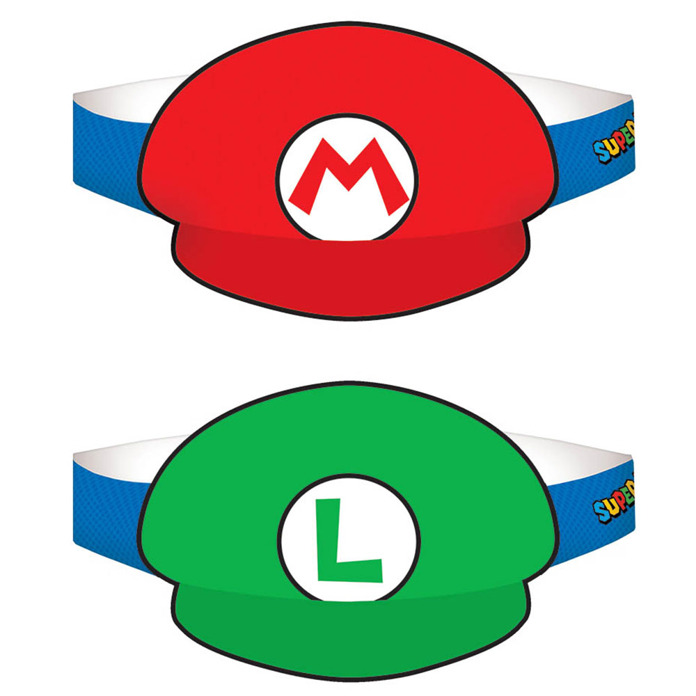 Super Mario Paper Hats - (8 Pack) BB250526