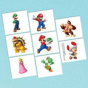 Super Mario Tattoo Favors (16 Pack)