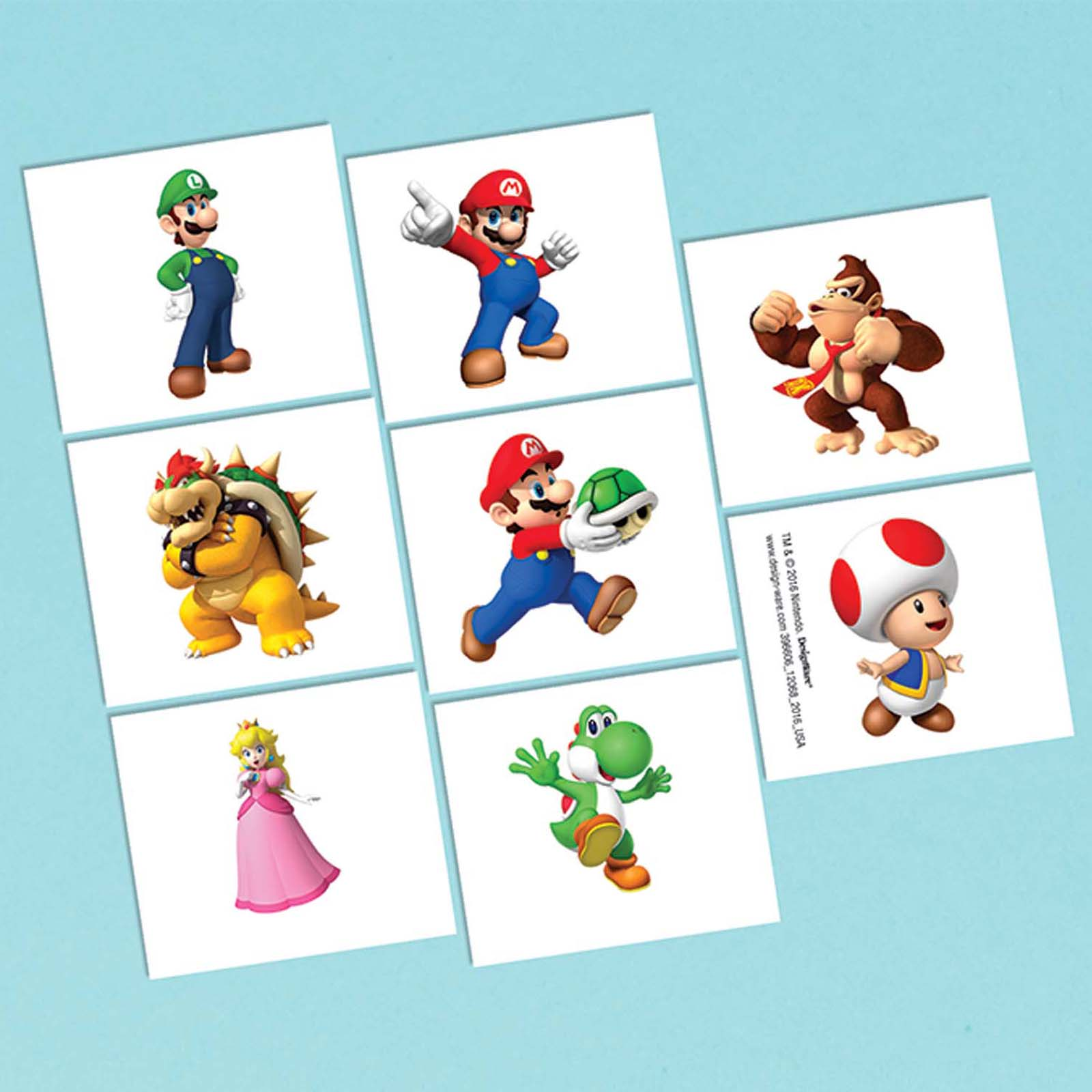 Super Mario Tattoo Favors (16 Pack) - Party Supplies BB396606