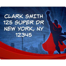 Super Superhero Personalized Address Labels (Sheet Of 15)