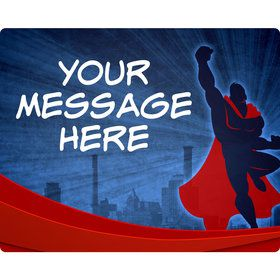 Super Superhero Personalized Rectangular Stickers (Sheet of 15)