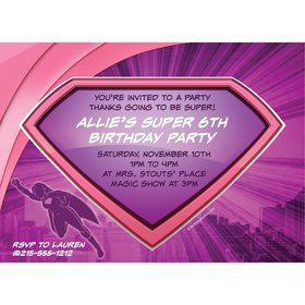 Supergirl Personalized Invitation (Each)