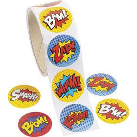 "Superhero 1.5"" Sticker Favors (100 Count)"