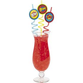 "Superhero 10"" Straws (6 Pack)"