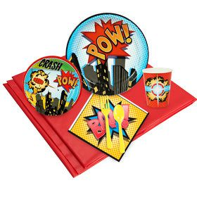 Superhero Birthday Party Deluxe Tableware Kit Serves 8