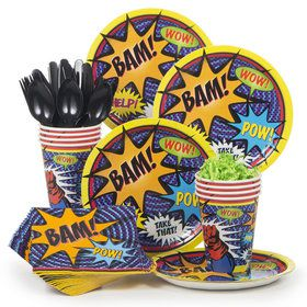 Superhero Birthday Party Standard Tableware Kit Serves 8
