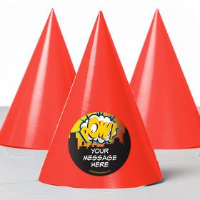 Superhero Comics Personalized Party Hats (8 Count)
