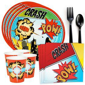 Superhero Comics Standard Tableware Kit (Serves 8)