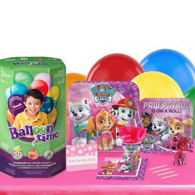 Pink Paw Patrol 16 Guest Kit with Tableware and Helium Kit