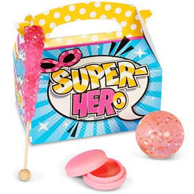 Superhero Girl Filled Favor Boxes (4-Pack)